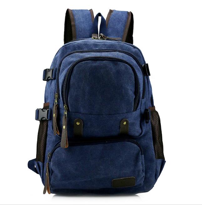 [ พร้อมส่ง ] - กระเป๋าเป้ ผู้ชาย-หญิง ดีไซน์เก๋เท่ ๆ สีน้ำเงิน ใบใหญ่จุใจ ช่องใส่ของเยอะมากๆ ใส่ หนังสือ และ I-Pad ได้ เหมาะสำหรับพกพา เดินทางท่องเที่ยว