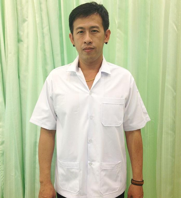เสื้อช็อปนักศึกษา เสื้อ shop ช่าง สีขาว