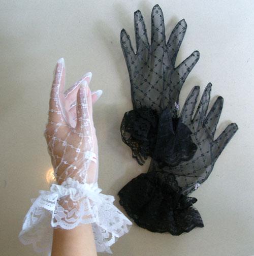 ถุงมือลูกไม้เด็ก-ผู้ใหญ่ ตาข่าย สีดำ size SS - XL