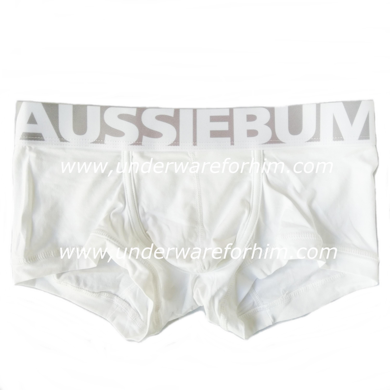 กางเกงในผู้ชาย AussieBum Boxer Briefs : ขอบใหญ่ สีขาว