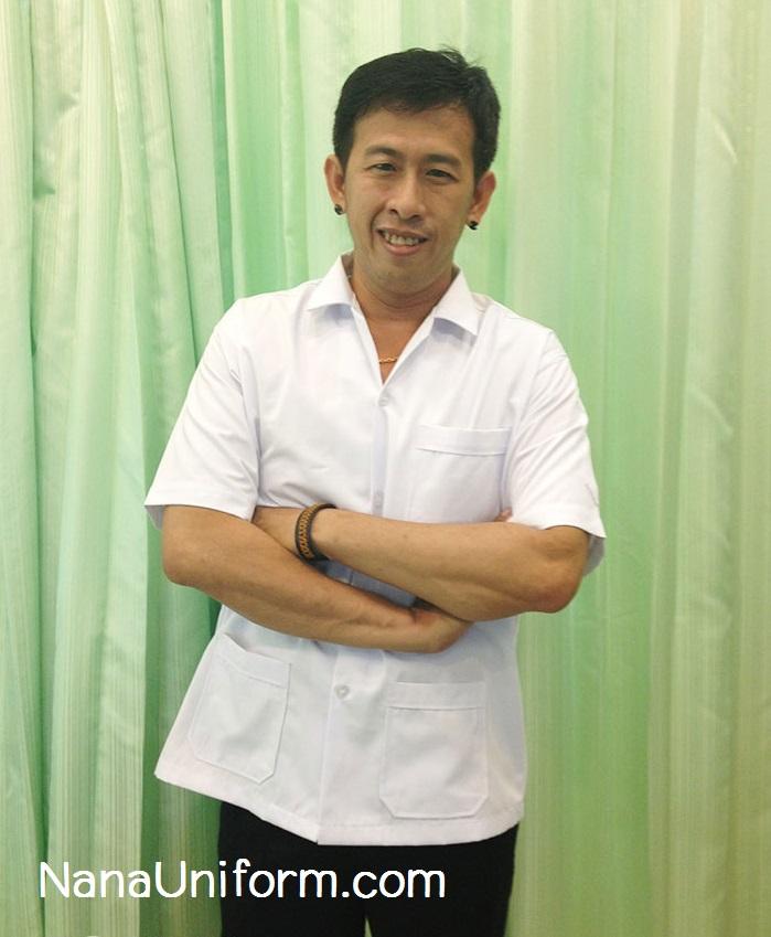 เสื้อข้าราชการสาธารณสุข ชาย คอเชิ๊ต แขนสั้น ทรงตรง อกเสื้อ 38, 40, 42, 44 นิ้ว