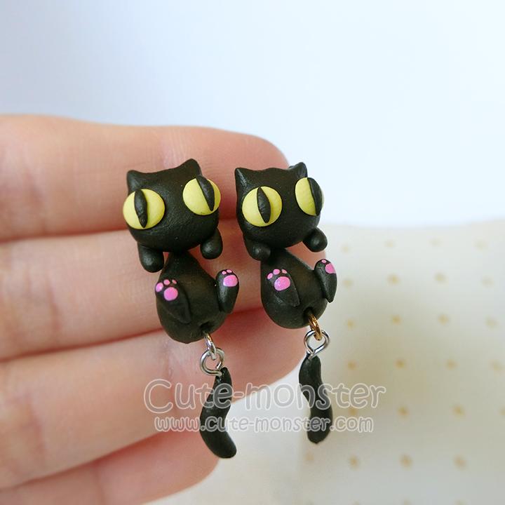 ต่างหูดินปั้น แมวดำ Black cat Earrings