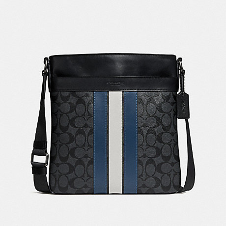 กระเป๋าผู้ชายสะพาย COACH CHARLES CROSSBODY IN SIGNATURE CANVAS WITH VARSITY STRIPE : F26068