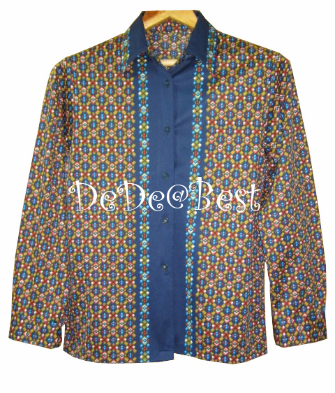 ขายแล้วค่ะ T53:Vintage top เสื้อวินเทจปกเชิ้ตแขนยาวผ้าสีสวย&#x2764