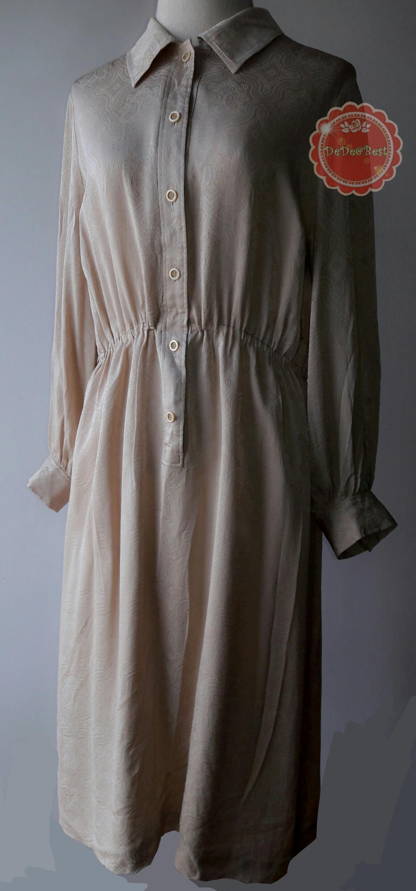 D23:Vintage dress เดรสวินเทจสีน้ำตาลทอง ทอลายวินเทจโบราณ