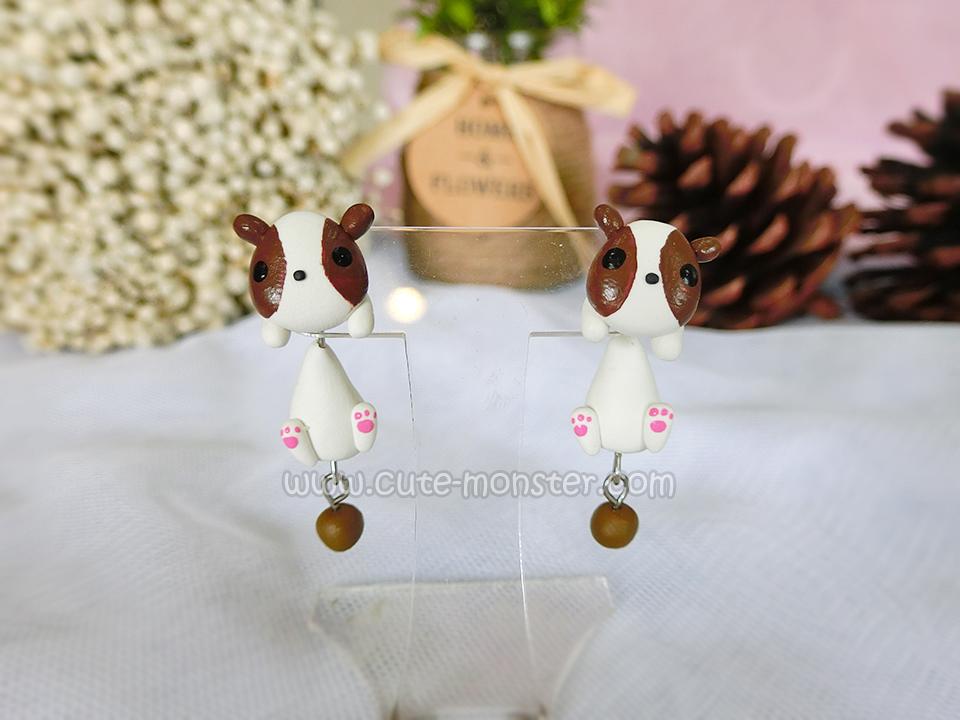 ต่างหูดินปั้น น้องหมาบราวนี่ Browny Dog Earrings