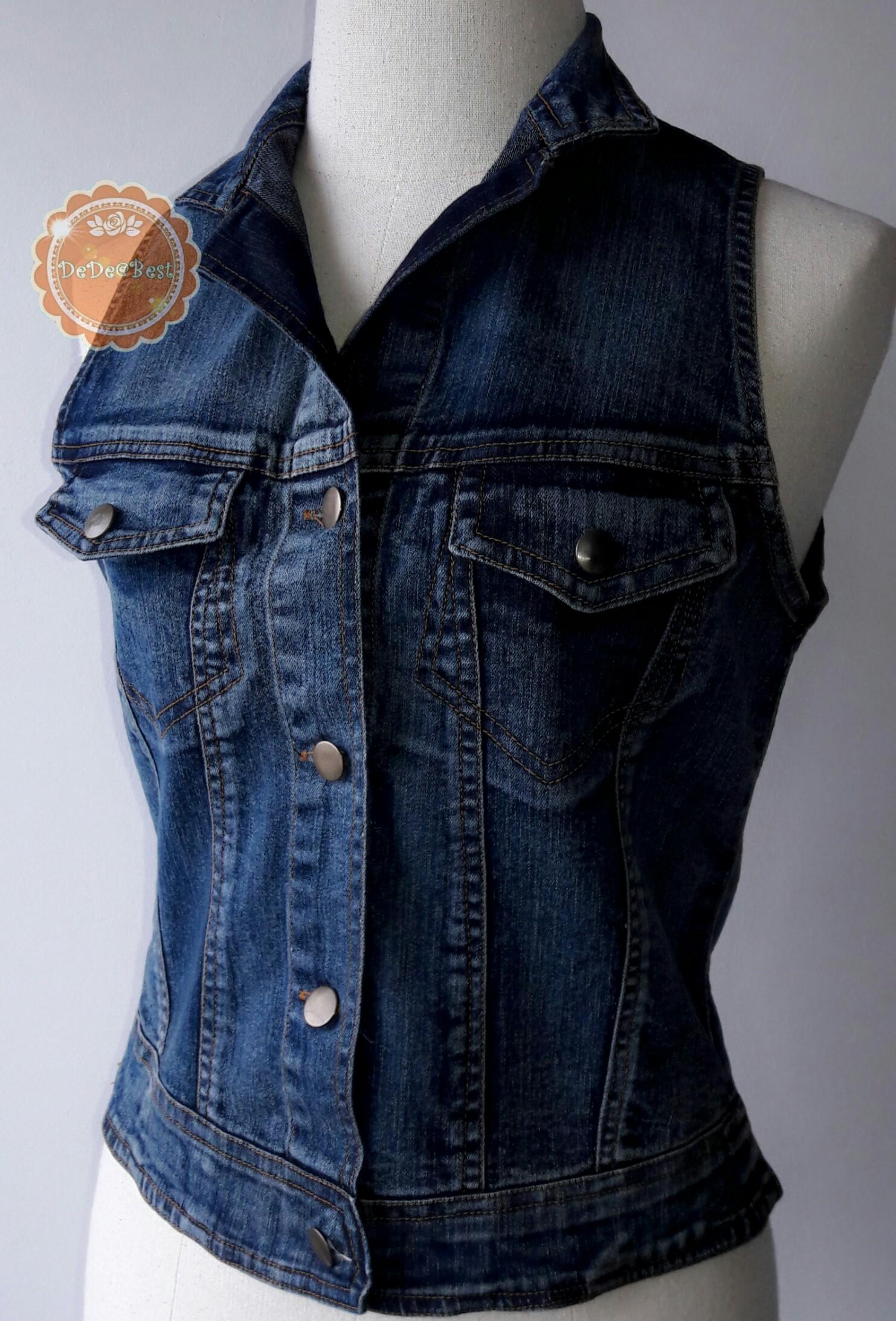 ขายแล้วค่ะ T123:2nd hand top เสื้อกั๊กยีนส์ (แขนกุด) size L &#x2764