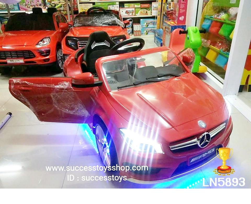 รถแบตเตอรี่เด็กนั่งไฟฟ้า LN5893 ยี่ห้อเบนซ์แท้พวงมาลัยพาวเวอร์ 2M สีแดง
