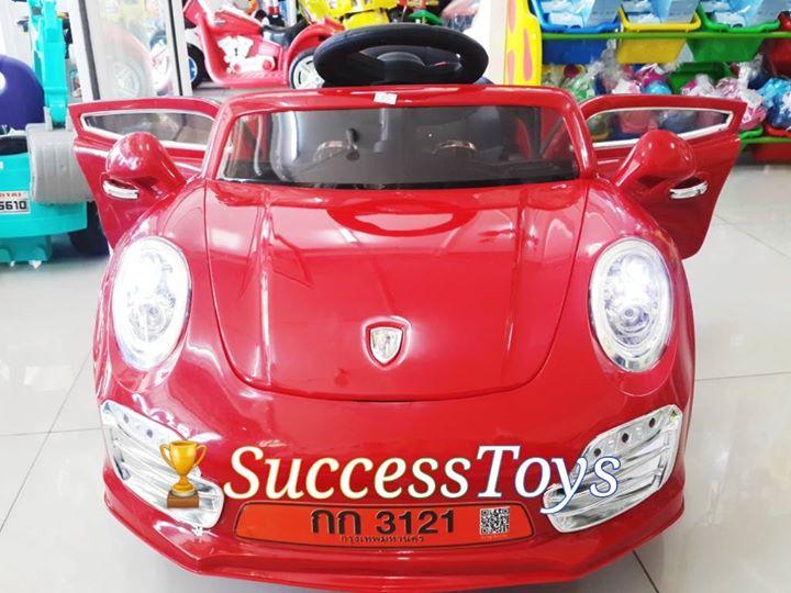 กก3121 รถแบตเตอรี่เด็กนั่งไฟฟ้า รุ่นนี้มีโช๊ค เปิดประตูได้ สีแดง