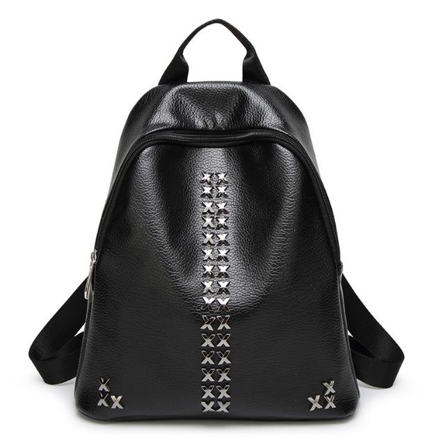 [ ลดราคา ] - กระเป๋าเป้แฟชั่น สไตล์เกาหลี สีดำคลาสสิค ปักหมุด X เก๋ ดีไซน์สวยเท่ๆ เหมาะสำหรับสาวๆ ที่ชอบเป้ใบกลางๆ เท่ๆ โดดเด่นไม่ซ้ำใคร