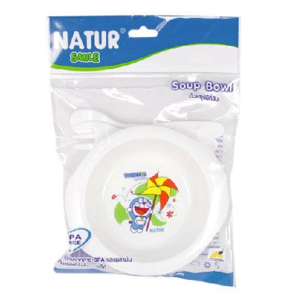 ถ้วยซุปเด็กโดเรมอน Natur พร้อมช้อนส้อม Doraemon Soup Bowl
