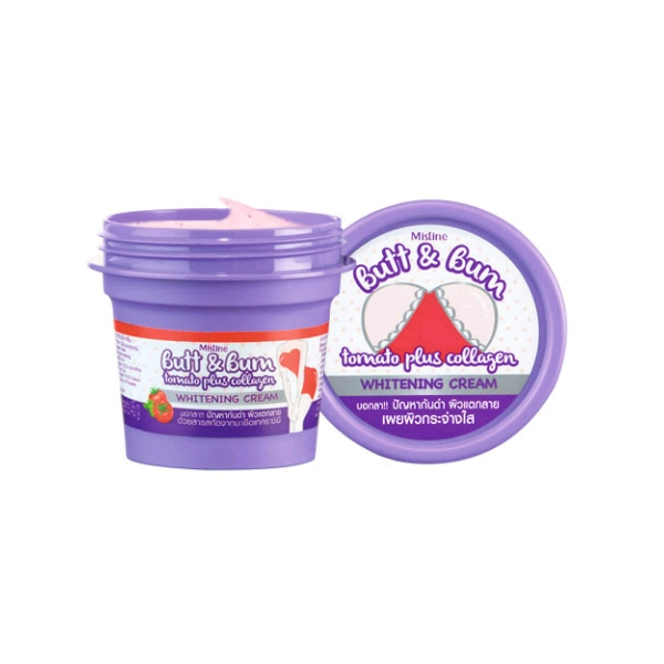 Mistine Butt & Bum Tomato plus Collagen Whitening Cream มิสทีน บัท แอนด์ บั้ม โทเมโท พลัส คอลลาเจน ไวท์เทนนิ่ง ครีม ขนาด 45 กรัม ครีมลดเลือนความหมองคล้ำบริเวณขาหนีบ รอยแตกลาย และก้น สารสกัดจากมะเขือเทศราชินี มีสารต้านอนุมูลอิสระ ช่วยให้ผิวแลดูกระจ่างใส