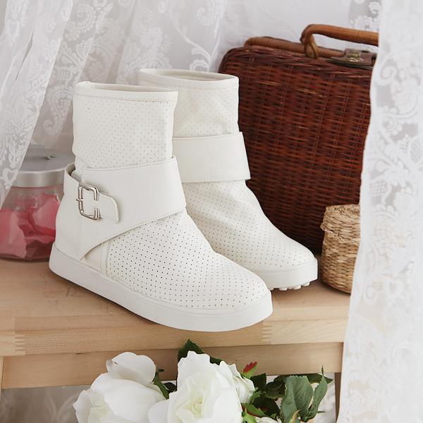 รองเท้าบู๊ทขาว สำหรับวัยใส น่ารักสไตล์เกาหลี Size 34-39