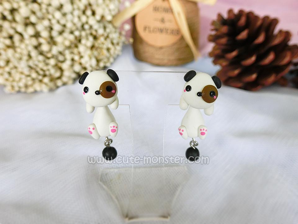 ต่างหูดินปั้น น้องหมาแพนด้า Panda dog Earrings