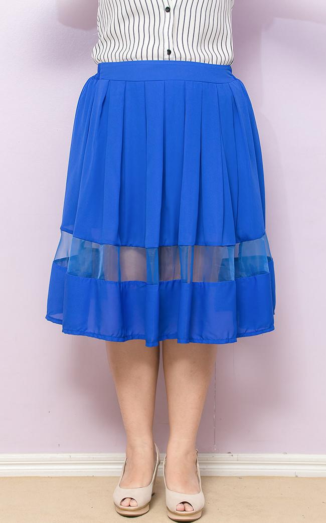 กระโปรงไซส์ใหญ่ผ้าชีฟองสีน้ำเงินตัดต่อผ้าแก้วติดยางยืด