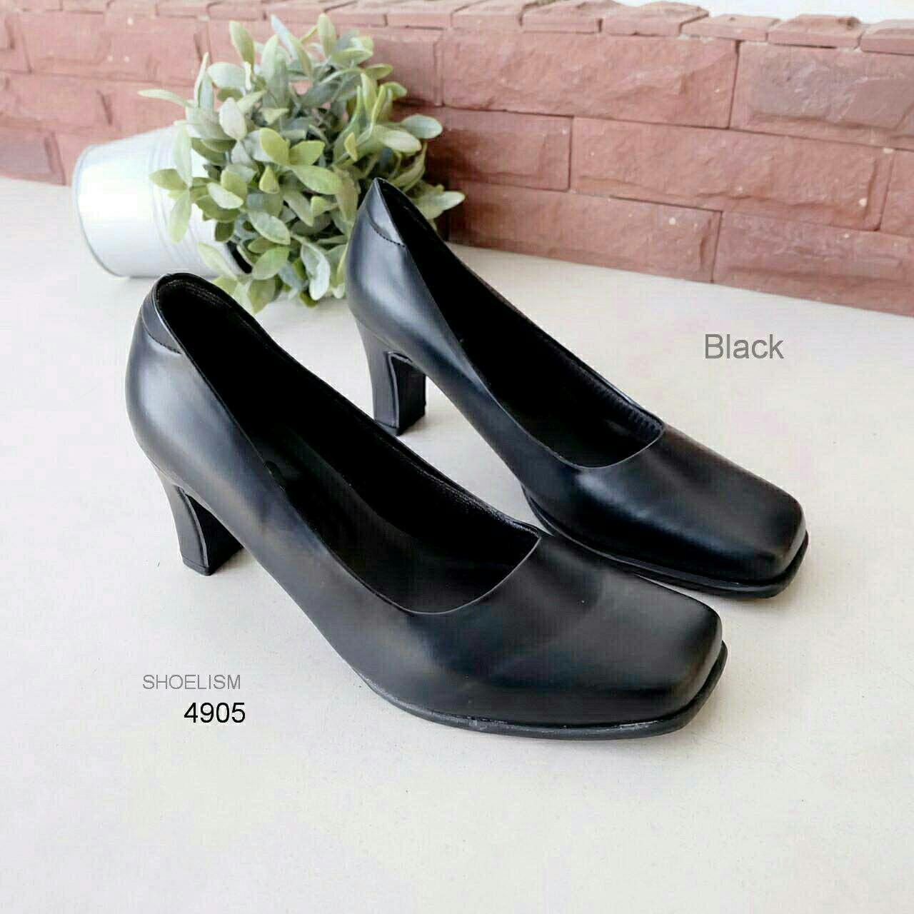 4905 รองเท้าคัชชูดำ หนัง pu พร้อมไซส์พิเศษ 35-43