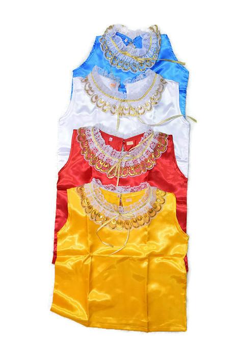 เสื้อคอกระเช้าลูกไม้ แขนกุด ผ้ามัน ประจำชาติไทย