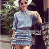 Lady Ribbon's Made Lady Ashley Tribal Chic Denim Shirt and Printed Skirt Set สำเนา