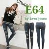 รหัส E64 กางเกงยีนส์เอวต่ำขายาว สีฟ้าเทาขาดหน้าขา / ผ้ายืด