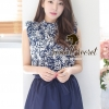 Set Navy Retro Style Blouse match with Navy Blues Short and Bow Tie by Seoul Secret