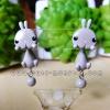 ต่างหูดินปั้น กระต่ายสีเทา Bunny gray Earrings