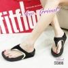 886) รองเท้าสุขภาพสไตล์ Fitflop ขอบทอง หนังสักหราด