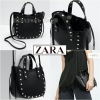 ZARA MINI LEATHER TOTE WITH STUDS