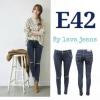 รหัส E42 กางเกงยีนส์เอวต่ำขายาว สีกรม ขาดเข่า / ผ้ายืด