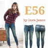 รหัส E56 กางเกงยีนส์เอวต่ำขายาว สีฟ้าอมเขียว ปักดาว ขาดหน้าขา / ผ้ายืด