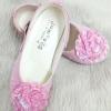 รองเท้าคัทชูออกงานเด็กหญิง หนังแก้วสีชมพู Size 25 ถึง 36 หมุนเก็บสายรัดข้อเท้าได้
