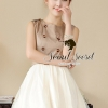 Chic Two Tone Khaki White Dress by Seoul Secret