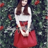Lady Ribbon's Made Lady Karlie Sweet and Classy Lace Top and Burgundy Skirt with Belt Set