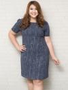 ชุดเดรสทำงานสาวอวบแขนสั้นผ้าชีฟองสีน้ำเงินพิมพ์ลายกราฟฟิกสีเทาบุซับใน