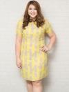 ชุดเดรสทำงานสาวอวบแขนสั้นผ้าชีฟองพิมพ์ลายทางเหลืองเทาบุซับใน
