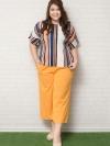 SET 2 ชิ้น เสื้อผ้าไซส์ใหญ่แขนค้างคาวผ้าชีฟองอัดพลีทพิมพ์ลายสีสันสดใส + กางเกงขาห้าส่วนทรงกระบอก