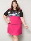 ชุดเดรสทำงานสาวอวบแขนสั้นผ้าโพลีเอสเตอร์สีชมพูตัดต่อลายพลางช่วงหน้าอก