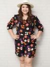 จั๊มสูทสาวอวบแขนสั้นผ้าโพลีเอสเตอร์สีดำพิมพ์ดอกไม้ติดยางยืดช่วงเอวมีกระเป๋าสองข้าง