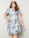 ชุดเดรสสาว Plus size แขนสั้นผ้าโพลีเอสเตอร์สีฟ้าพิมพ์ลายดอกไม้สีสันสดใส