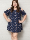ชุดเดรสสาว PLUS SIZE แขนสั้นเว้าไหล่ผ้าชีฟองเนื้อทรายสีน้ำเงินพิมพ์ลายนกเลิฟเบิร์ดสีสันสดใส