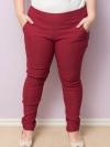 กางเกงขายาวไซส์ใหญ่ผ้าสกินนี่สีแดงมีกระเป๋าสองข้าง