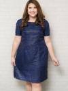 ชุดเดรสไซส์ใหญ่แขนสั้นผ้าชีฟองสีน้ำเงินพิมพ์ลายตัวอักษรสีดำบุซับใน