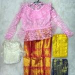 ชุดไทยเด็ก ผ้าถุงลายดิ้นทองยกลายไทย