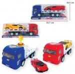 รถพ่วง 6 ล้อ บรรทุกรถ ฝาครอบใส คละ2สี น้ำเงิน-แดง