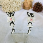 ต่างหู น้องหมา ไซบีเรียน ฮัสกี้ สีดำ Siberian Husky Earrings (Black)