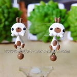 ต่างหูดินปั้น กระต่ายสีขาวแต้มน้ำตาล Bunny browny Earrings