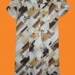 ขายแล้วค่ะ D18:Vintage dress เดรสวินเทจลายสีขาวน้ำตาล&#x2764