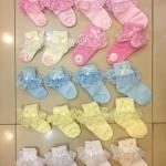 ถุงเท้าเด็กหญิง ระบายลูกไม้ สำหรับเด็ก 0 - 7 ปี สีเหลือง