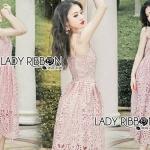 Lady Jane Baby Pink Lace Single Dress เดรสสายเดี่ยวผ้าลูกไม้สีชมพูอ่อน