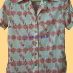 ขายแล้วค่ะ T7:Vintage top เสื้อเชิ้ตวินเทจลายต้นไม้เล็กๆ สีส้ม&#x2764