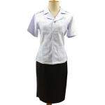เสื้อข้าราชการสาธารณสุข หญิง คอฮาวาย แขนสั้น เข้ารูป อกเสื้อ 34, 36, 38 นิ้ว